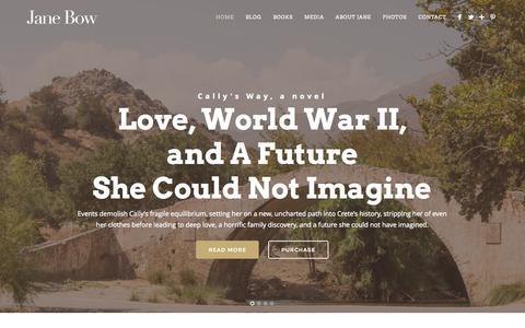 Screenshot of Home Page janebow.com - Jane Bow - Author, Adventurist, Novelist, Storyteller - captured Jan. 21, 2015