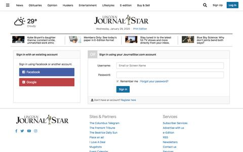 Screenshot of Support Page journalstar.com - Users | journalstar.com - captured Jan. 29, 2020