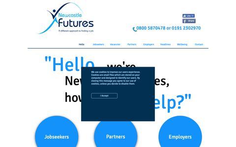 Screenshot of Home Page newcastlefutures.co.uk - Newcastle Futures - Newcastle jobs - Residents of Newcastle get jobs - captured Nov. 7, 2018