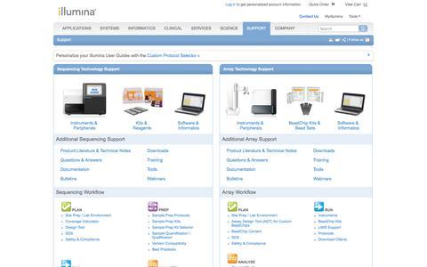 Screenshot of Support Page illumina.com - Support - captured Sept. 23, 2014