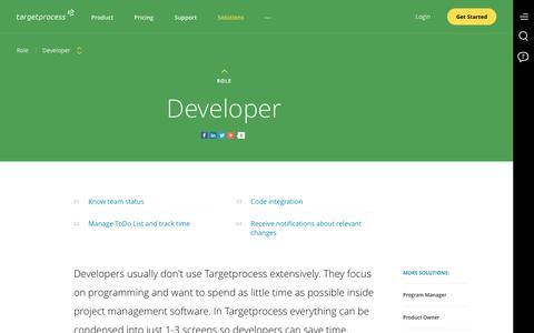 Screenshot of Developers Page targetprocess.com - Developer | Agile Roles | Visual Management | Agile Development - captured Jan. 30, 2017