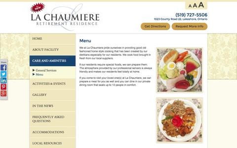 Screenshot of Menu Page lachaumiere.net - Menu - Care and Amenities  - La Chaumiere Retirement Residence - captured Oct. 1, 2014