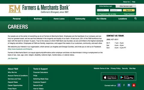 Screenshot of Jobs Page fmb.com - Find out More Careers in Banking | Farmers & Merchants Bank - captured Sept. 30, 2018