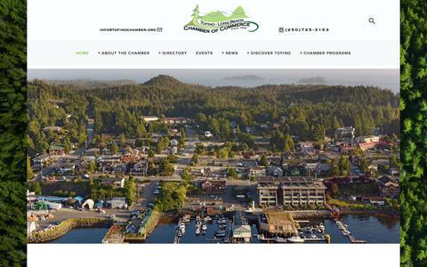Screenshot of Home Page tofinochamber.org - Tofino Chamber of Commerce - captured Dec. 2, 2016