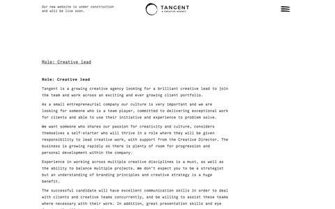 Screenshot of Jobs Page tangent-design.com - Branding and Website Design Manchester   0161 477 4774   Tangent Design - captured Nov. 19, 2018