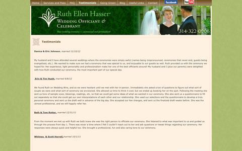 Screenshot of Testimonials Page ruthellenhasser.com - St Louis Wedding Officiant Testimonials about Ruth Hasser | Ruth Ellen Hasser - captured Oct. 6, 2014