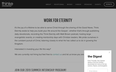 Screenshot of Jobs Page thinke.org - Careers — Think Eternity - captured Oct. 18, 2018