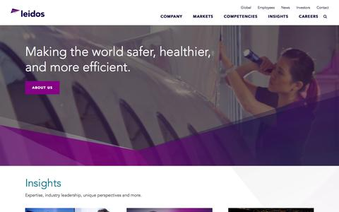Screenshot of Home Page leidos.com - Leidos: Innovative Solutions through Information Technology, Engineering and Science - captured Aug. 15, 2018
