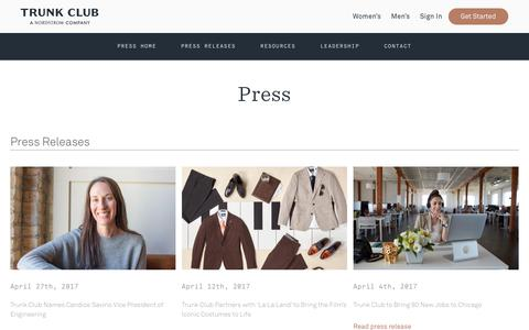 Screenshot of Press Page trunkclub.com - Trunk Club - Trunk Club Press - captured Oct. 3, 2017