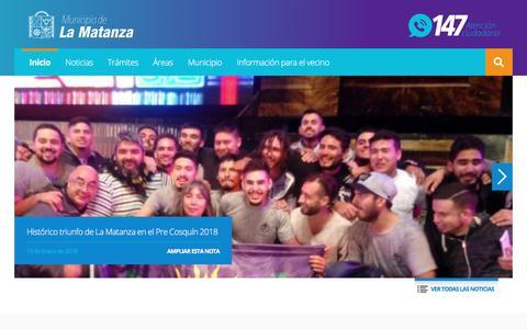 Screenshot of Home Page lamatanza.gov.ar captured Jan. 29, 2018