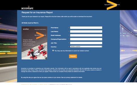 Screenshot of Landing Page accenture.com - Smarter, Faster Product Innovation:  Strategic Imperatives for Property & Casualty Insurers - captured Oct. 29, 2016