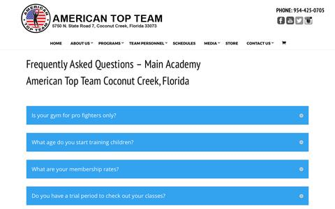 Screenshot of FAQ Page americantopteam.com - American Top Team and Mixed Martial Arts FAQ - captured April 3, 2017