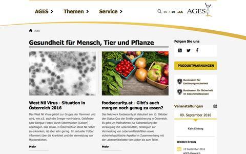 Screenshot of ages.at - AGES - Österreichische Agentur für Ernährungssicherheit - captured Sept. 9, 2016