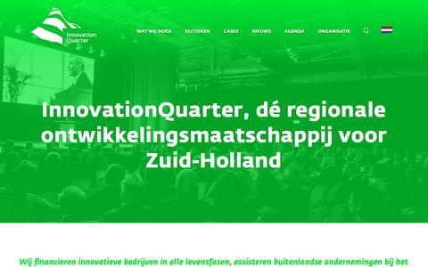 Screenshot of Home Page innovationquarter.nl - InnovationQuarter / Investeren & innoveren in Zuid-Holland - captured Sept. 17, 2018
