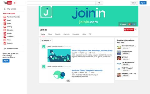 Screenshot of YouTube Page youtube.com - joinin  - YouTube - captured Oct. 23, 2014