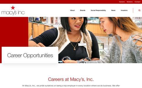 Screenshot of Jobs Page macysinc.com - Careers :: Macy's, Inc. (M) - captured Feb. 9, 2019