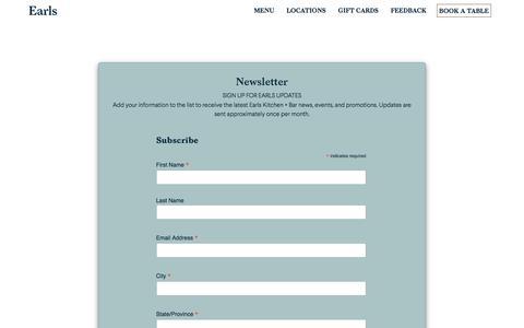 Screenshot of Signup Page earls.ca - Earls Kitchen + Bar | Newsletter - captured Jan. 21, 2020