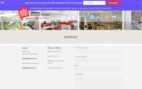 Screenshot of Contact Page mbifurniture.com - Office Furniture Louisville, KY - captured Oct. 26, 2017