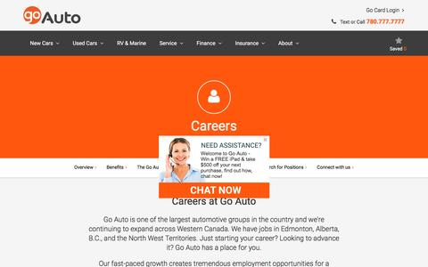Screenshot of Jobs Page goauto.ca - Career Opportunities & Jobs in Edmonton, Alberta, B.C., & NWT|Go Auto | Go Auto - captured May 6, 2017