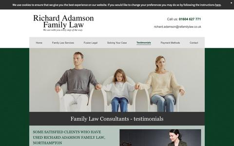 Screenshot of Testimonials Page ra-familylaw.co.uk - Trustworthy family law consultants in Northampton - captured Oct. 18, 2018