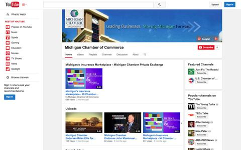 Screenshot of YouTube Page youtube.com - Michigan Chamber of Commerce  - YouTube - captured Nov. 3, 2014