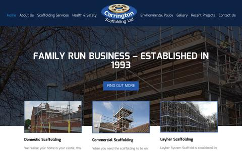 Screenshot of Home Page carringtonscaffolding.co.uk - Scaffolding Stoke | Scaffolding companies near me | Scaffolding Services - captured Sept. 27, 2018