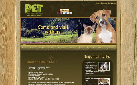 Screenshot of Hours Page petplacementcenter.com - Pet Placement Hours - captured Jan. 27, 2016