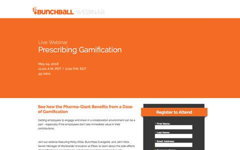 Screenshot of Landing Page bunchball.com - Prescribing Gamification - captured May 10, 2018