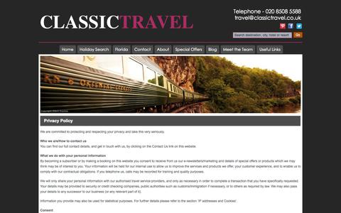 Screenshot of Privacy Page classictravel.co.uk - Privacy Policy - Classic Travel - Independent Travel Agent, Loughton - captured Oct. 2, 2014