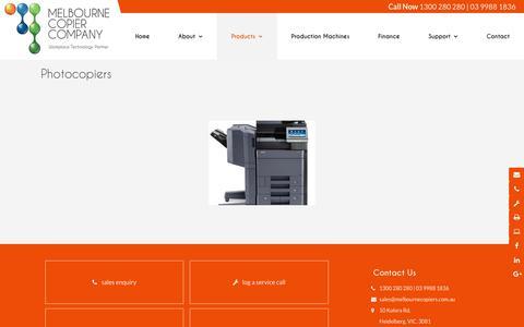 Screenshot of Products Page melbournecopiers.com.au - Melbourne Copier Company VIC | Printing - captured Oct. 21, 2018