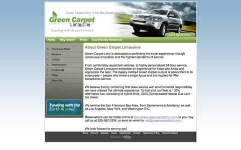 Screenshot of About Page greencarpetlimo.com - Eco Friendly Chauffeured Car Service in SF Bay Area - Green Carpet Limousine - captured Nov. 15, 2016