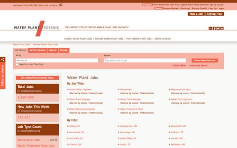 Screenshot of Jobs Page waterplantcrossing.com - Water Plant Jobs, Browse Jobs in Water Plant By Job Type, City, State in United States | WaterPlantCrossing.com - captured Oct. 20, 2018