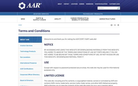 Screenshot of Terms Page aarcorp.com - Terms and Conditions - About AAR   AAR Corporate - captured Sept. 19, 2014