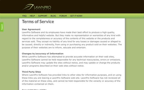 Screenshot of Terms Page lawnprosoftware.com - lawn care software | lawn business software by LawnProSoftware.com - captured Jan. 17, 2016