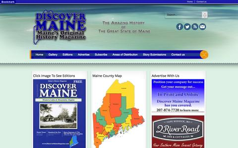 Screenshot of Home Page discovermainemagazine.info - Discover Maine Magazine, Maine's Original History Magazine - captured Sept. 30, 2014
