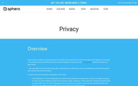 Screenshot of Privacy Page sphero.com - Sphero | Connected Toys - captured Jan. 17, 2018