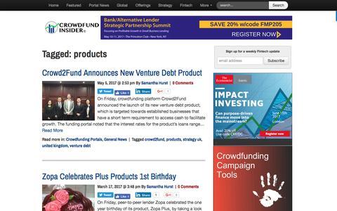 Screenshot of Products Page crowdfundinsider.com - products Archives - Crowdfund Insider - captured May 6, 2017