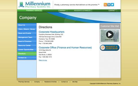 Screenshot of Maps & Directions Page mpsrx.com - Millennium Address | Directions to Millennium - captured Sept. 16, 2014