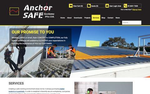Screenshot of Services Page anchorsafe.com.au - Services - captured Nov. 20, 2016