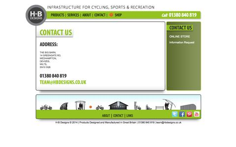 Screenshot of Contact Page hbdesigns.co.uk - Contact Us | H-B Designs - captured Oct. 1, 2014