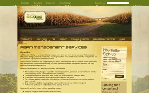 Screenshot of Services Page midwesternbioag.com - Farm Management Services - captured Feb. 25, 2016