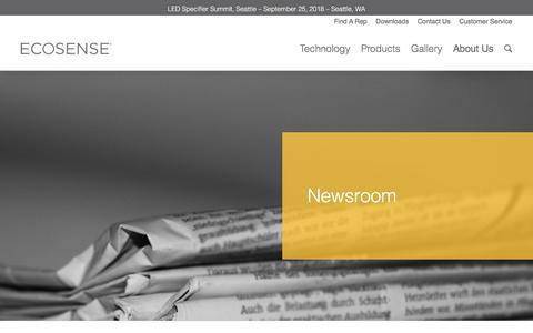 Screenshot of Press Page ecosenselighting.com - Newsroom - Ecosense Lighting - captured Sept. 20, 2018