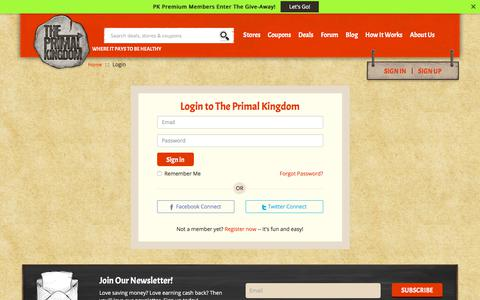 Screenshot of Login Page theprimalkingdom.com - The Primal Kingdom - captured July 6, 2018
