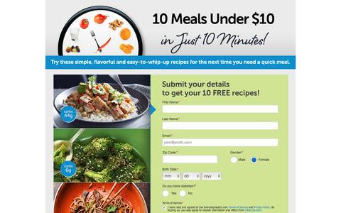 Screenshot of Landing Page everydayhealth.com - Everyday Health | 10 Meals - captured June 24, 2016