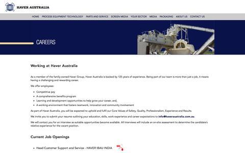 Screenshot of Jobs Page haveraustralia.com.au - Careers | Haver Australia - captured Sept. 29, 2014