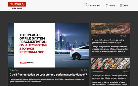 Screenshot of Blog tuxera.com - Storage news from the world leaders in data storage management software - captured Sept. 21, 2018