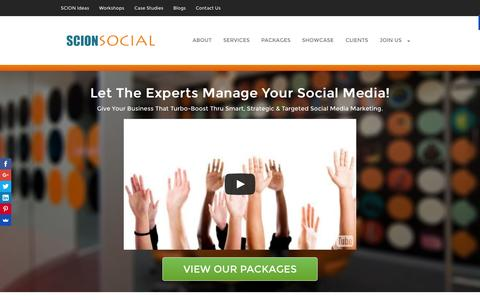 Screenshot of Home Page scion-social.com - SCION SOCIAL | Social Media Marketing Services - captured Oct. 1, 2015