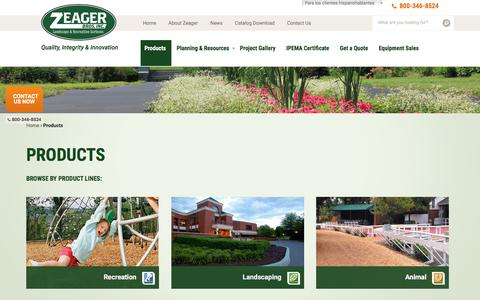 Screenshot of Products Page zeager.com - Landscaping & Recreation Products | Zeager Bros. - captured Nov. 5, 2017