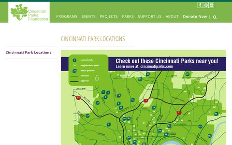 Screenshot of Locations Page cincinnatiparksfoundation.org - Cincinnati Park Locations - Cincinnati Parks Foundation - captured July 18, 2018