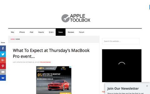 Screenshot of Press Page appletoolbox.com - News and Rumors All Things Apple - AppleToolbox - captured Nov. 6, 2016